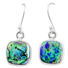 6.61cts multi color sterling opal 925 sterling silver dangle earrings r70162