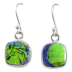 6.93cts multi color sterling opal 925 sterling silver dangle earrings r70166