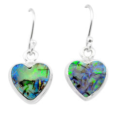 4.19cts multi color sterling opal 925 sterling silver dangle earrings t26301