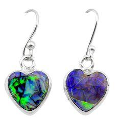 4.90cts multi color sterling opal 925 sterling silver dangle earrings t26309