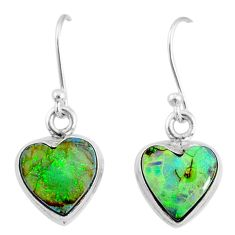 6.19cts multi color sterling opal 925 sterling silver heart earrings r70181