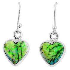 6.23cts multi color sterling opal 925 sterling silver heart earrings r70183