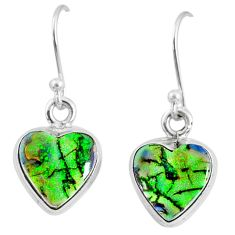 6.61cts multi color sterling opal 925 sterling silver heart earrings r70185