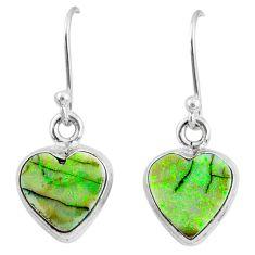 6.59cts multi color sterling opal 925 sterling silver heart earrings r70187