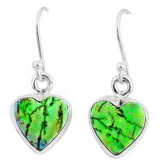 6.19cts multi color sterling opal 925 sterling silver heart earrings r70189