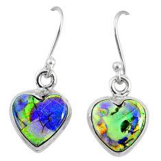6.19cts multi color sterling opal 925 sterling silver heart earrings r70191