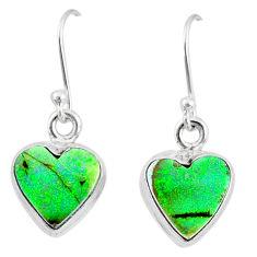 6.16cts multi color sterling opal 925 sterling silver heart earrings r70192