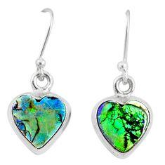 6.61cts multi color sterling opal 925 sterling silver heart earrings r70196