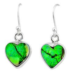 6.61cts multi color sterling opal 925 sterling silver heart earrings r70197