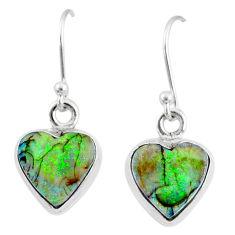 6.19cts multi color sterling opal 925 sterling silver heart earrings r70198