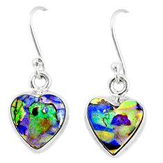 6.61cts multi color sterling opal 925 sterling silver heart earrings r70200