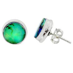 5.87cts multi color sterling opal 925 sterling silver stud earrings r62872