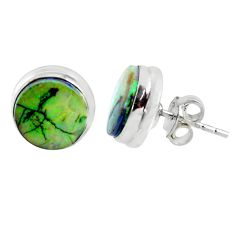 5.87cts multi color sterling opal 925 sterling silver stud earrings r62876