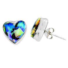 4.91cts multi color sterling opal heart 925 sterling silver stud earrings r62846