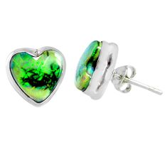 4.85cts multi color sterling opal heart 925 sterling silver stud earrings r62848