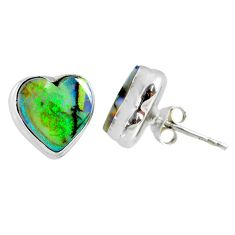 4.85cts multi color sterling opal heart 925 sterling silver stud earrings r62851
