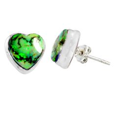 5.22cts multi color sterling opal heart 925 sterling silver stud earrings r62852