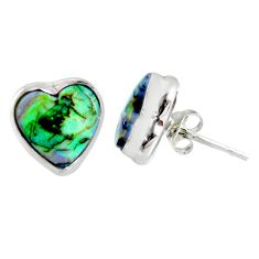 4.85cts multi color sterling opal heart 925 sterling silver stud earrings r62855