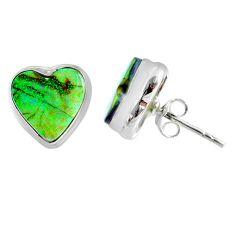 5.22cts multi color sterling opal heart 925 sterling silver stud earrings r62856
