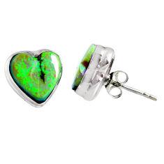 5.23cts multi color sterling opal heart 925 sterling silver stud earrings r62857