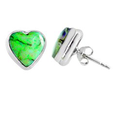5.26cts multi color sterling opal heart 925 sterling silver stud earrings r62859