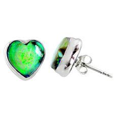 5.23cts multi color sterling opal heart 925 sterling silver stud earrings r62860