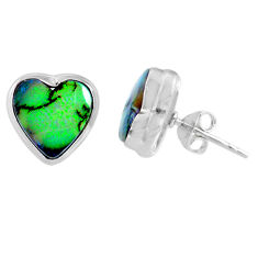 4.85cts multi color sterling opal heart 925 sterling silver stud earrings r62913