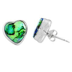 4.83cts multi color sterling opal heart 925 sterling silver stud earrings r62915