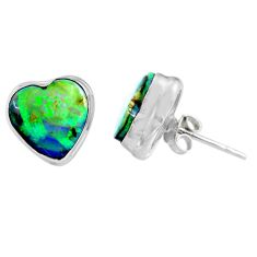 4.83cts multi color sterling opal heart 925 sterling silver stud earrings r62916