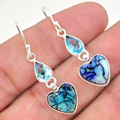 6.99cts multi color sterling opal topaz 925 silver dangle earrings t24783