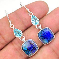 6.94cts multi color sterling opal topaz 925 silver dangle earrings t24784