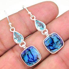 7.41cts multi color sterling opal topaz 925 silver dangle earrings t24786
