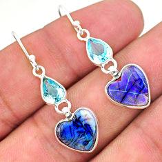 6.97cts multi color sterling opal topaz 925 silver dangle earrings t24787