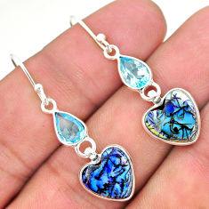 6.68cts multi color sterling opal topaz 925 silver dangle earrings t24790