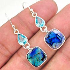 7.36cts multi color sterling opal topaz 925 silver dangle earrings t24791