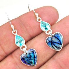 6.79cts multi color sterling opal topaz 925 silver dangle earrings t24792