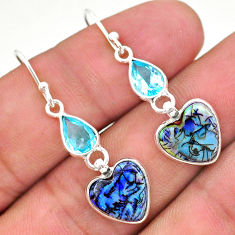 6.45cts multi color sterling opal topaz 925 silver dangle earrings t24794