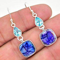 7.36cts multi color sterling opal topaz 925 silver dangle earrings t24796