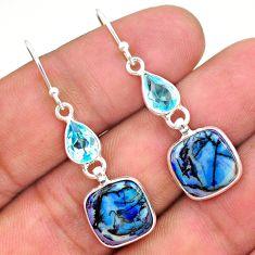 6.79cts multi color sterling opal topaz 925 silver dangle earrings t24797