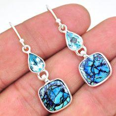 6.94cts multi color sterling opal topaz 925 silver dangle earrings t24799