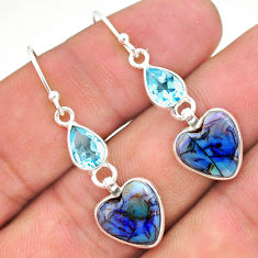 7.51cts multi color sterling opal topaz 925 silver dangle earrings t24801
