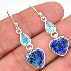 6.89cts multi color sterling opal topaz 925 silver dangle earrings t24806