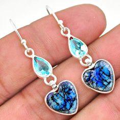 7.38cts multi color sterling opal topaz 925 silver dangle earrings t24807