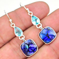 7.46cts multi color sterling opal topaz 925 silver dangle earrings t24808