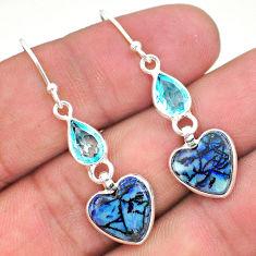 6.84cts multi color sterling opal topaz 925 silver dangle earrings t24809