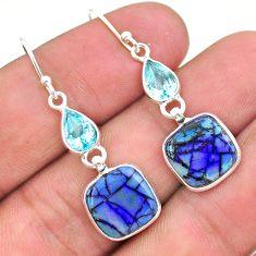 7.41cts multi color sterling opal topaz 925 silver dangle earrings t24810