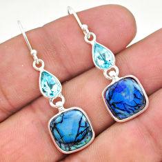 6.71cts multi color sterling opal topaz 925 silver dangle earrings t24815