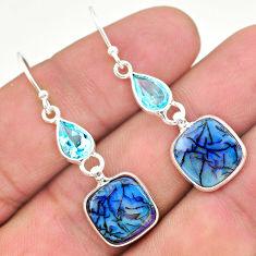7.36cts multi color sterling opal topaz 925 silver dangle earrings t24819