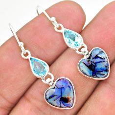 6.86cts multi color sterling opal topaz 925 silver dangle earrings t24820