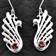 2.00cts multicolor rainbow topaz 925 sterling silver dangle earrings d39995